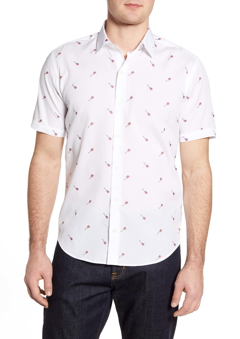 Bugatchi Shaped Fit Guitar Print Short Sleeve Button-Up Shirt