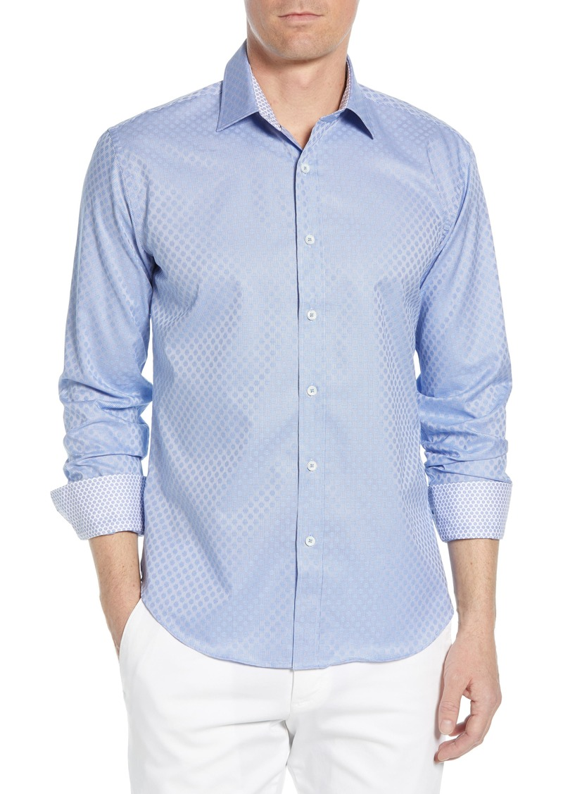 Bugatchi Shaped Fit Jacquard Cotton Sport Shirt