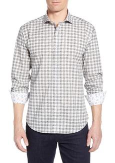 Bugatchi Shaped Fit Paisley Check Cotton Sport Shirt