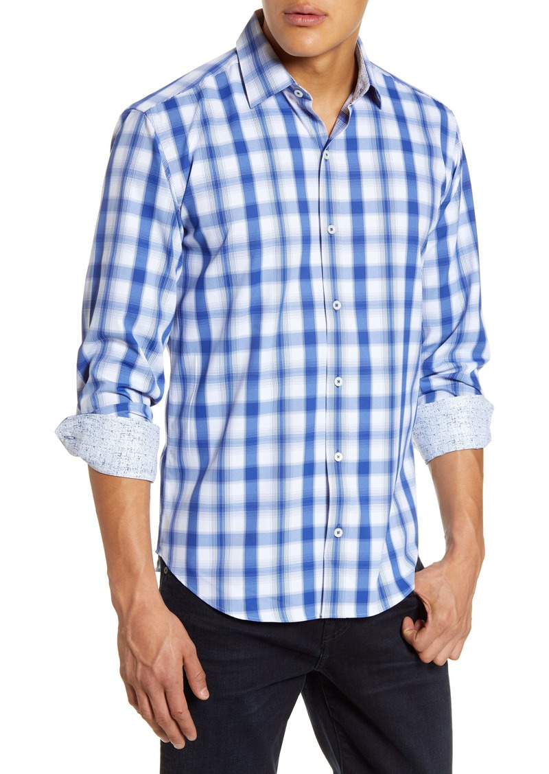 Bugatchi Shaped Fit Plaid Button-Up Performance Shirt