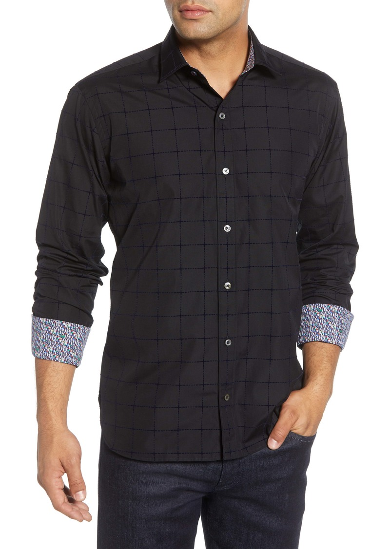 Bugatchi Shaped Fit Plaid Button-Up Sport Shirt
