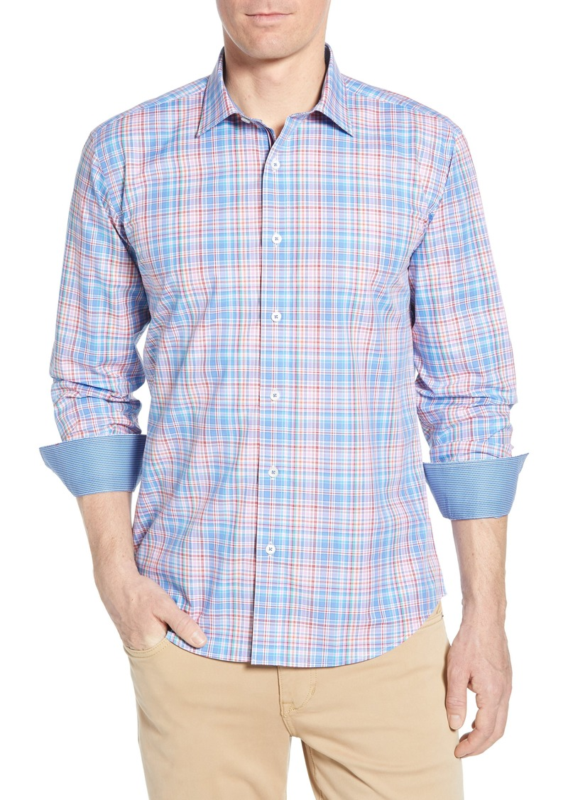 Bugatchi Shaped Fit Plaid Cotton Shirt
