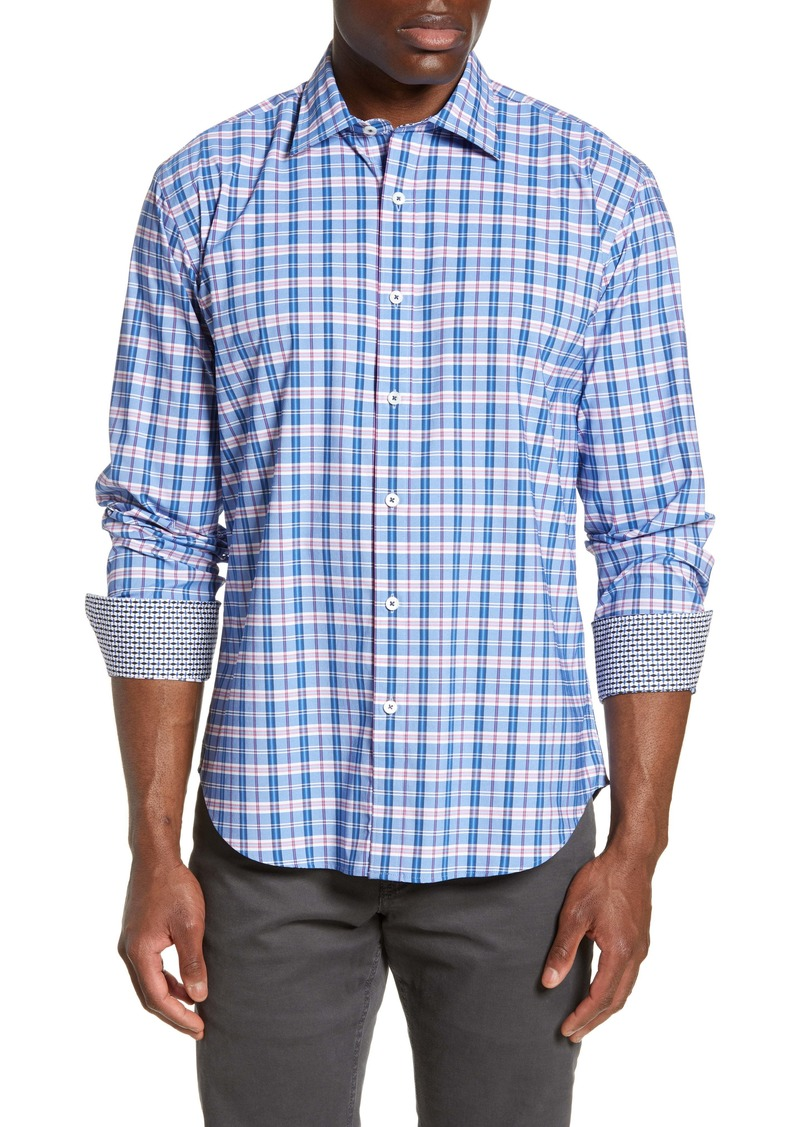 Bugatchi Shaped Fit Plaid Performance Shirt