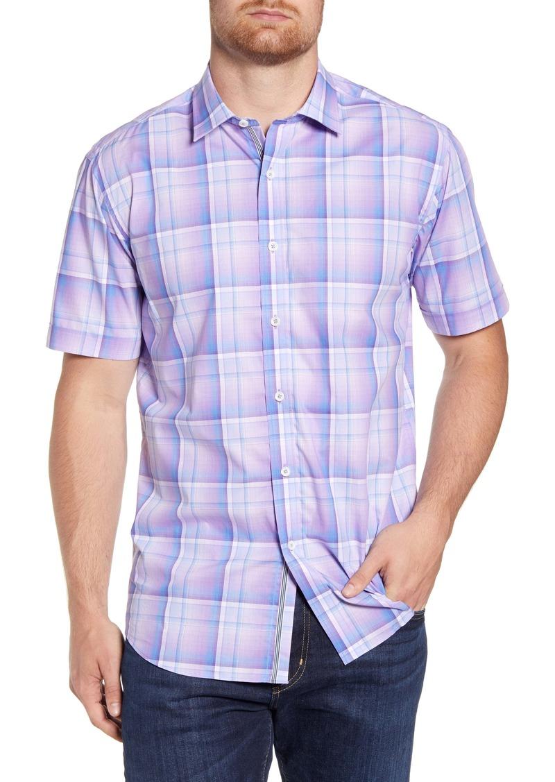 Bugatchi Shaped Fit Plaid Short Sleeve Button-Up Shirt