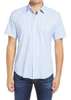 Bugatchi Shaped Fit Pointillism Short Sleeve Button-Up Performance Shirt