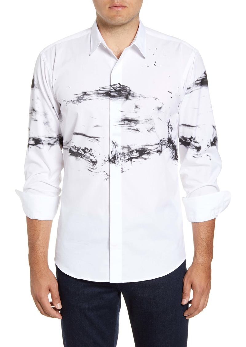 Bugatchi Shaped Fit Print Button-Up Sport Shirt