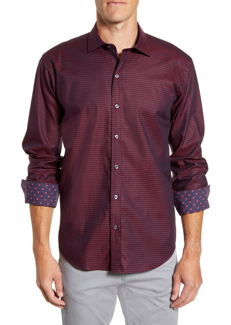 Bugatchi Shaped Fit Print Button-Up Sport Shirt