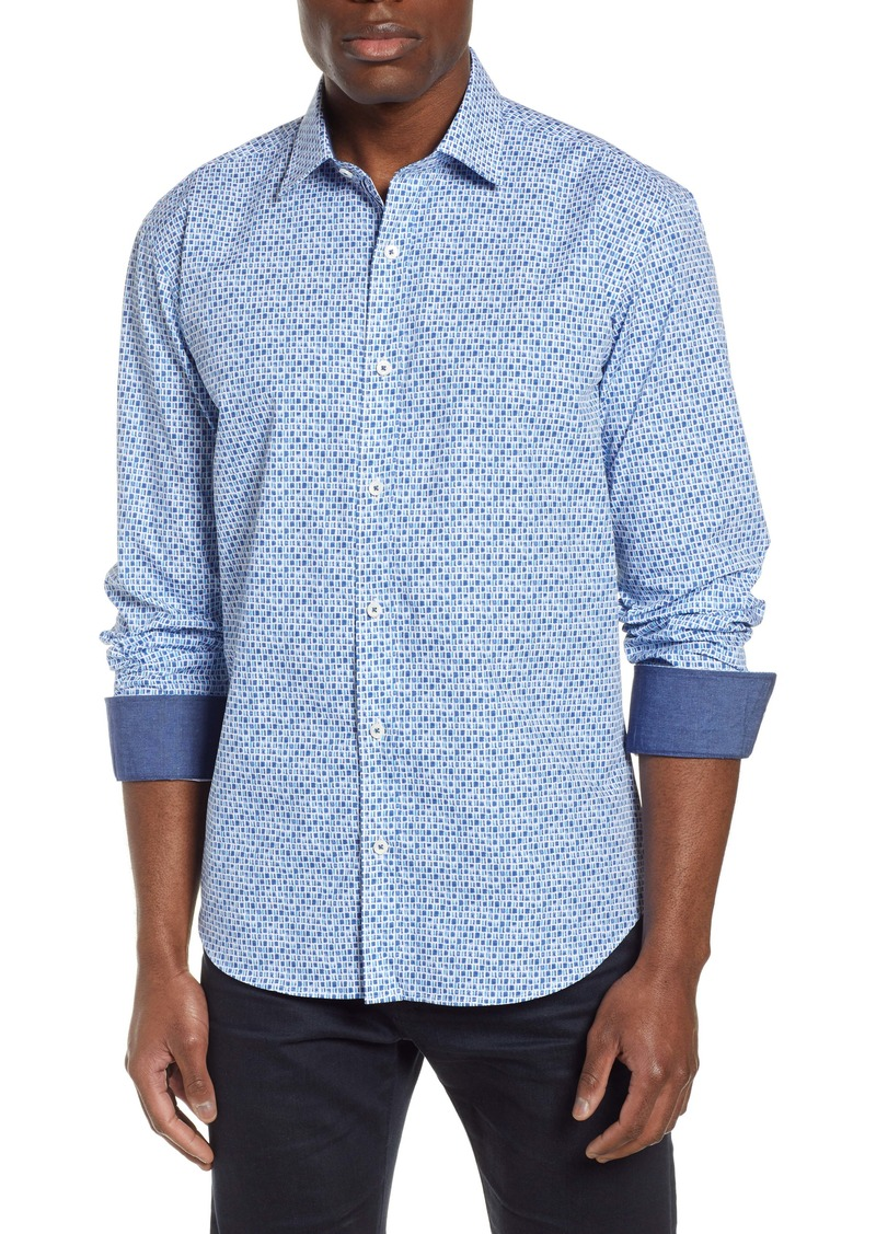 Bugatchi Shaped Fit Print Cotton Shirt