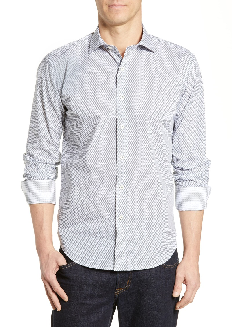 Bugatchi Shaped Fit Print Cotton Sport Shirt