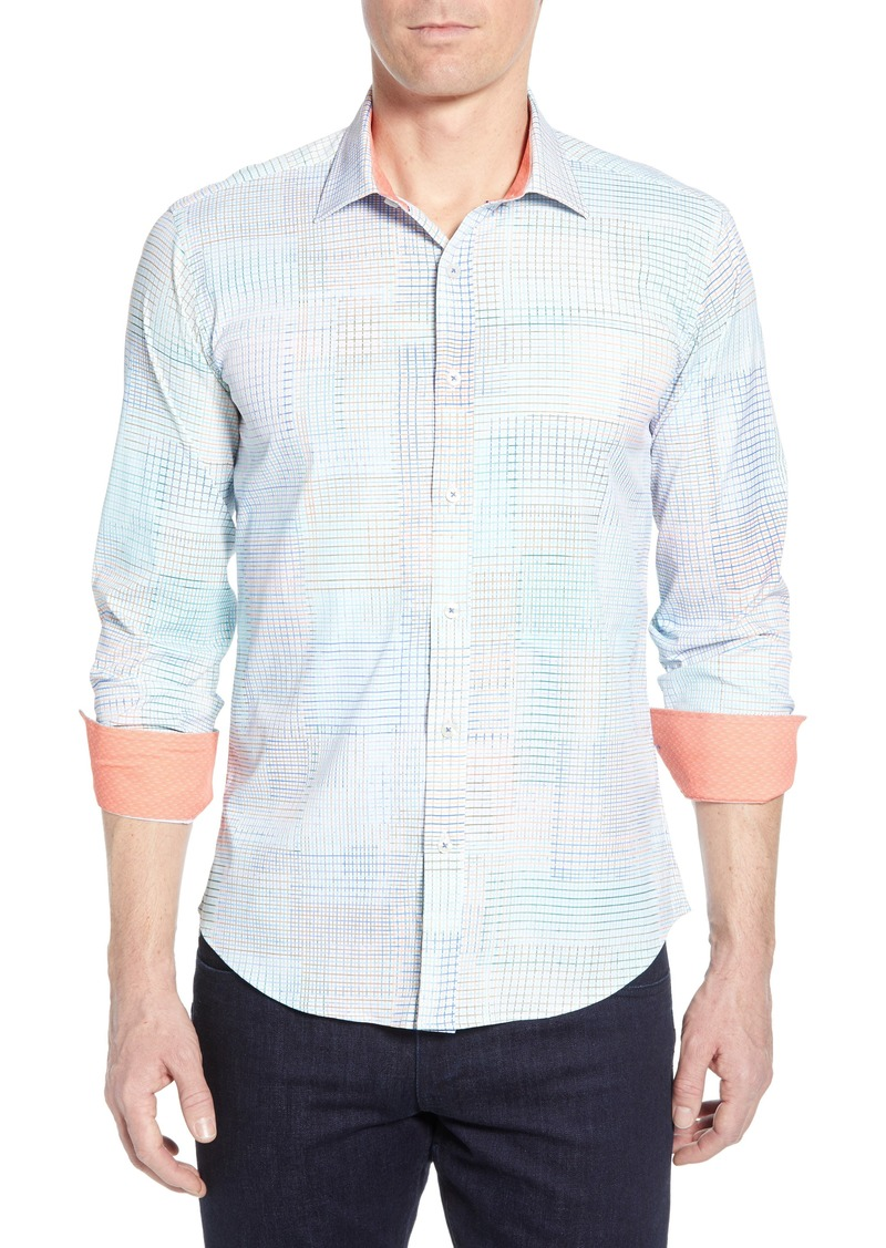 Bugatchi Shaped Fit Print Performance Shirt