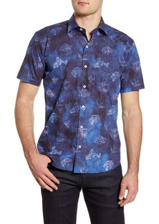 Bugatchi Shaped Fit Short Sleeve Button-Up Shirt