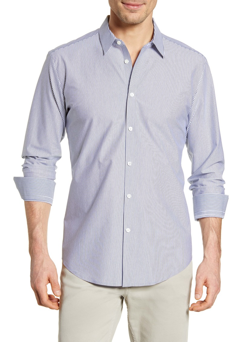 Bugatchi Shaped Fit Stripe Button-Up Shirt