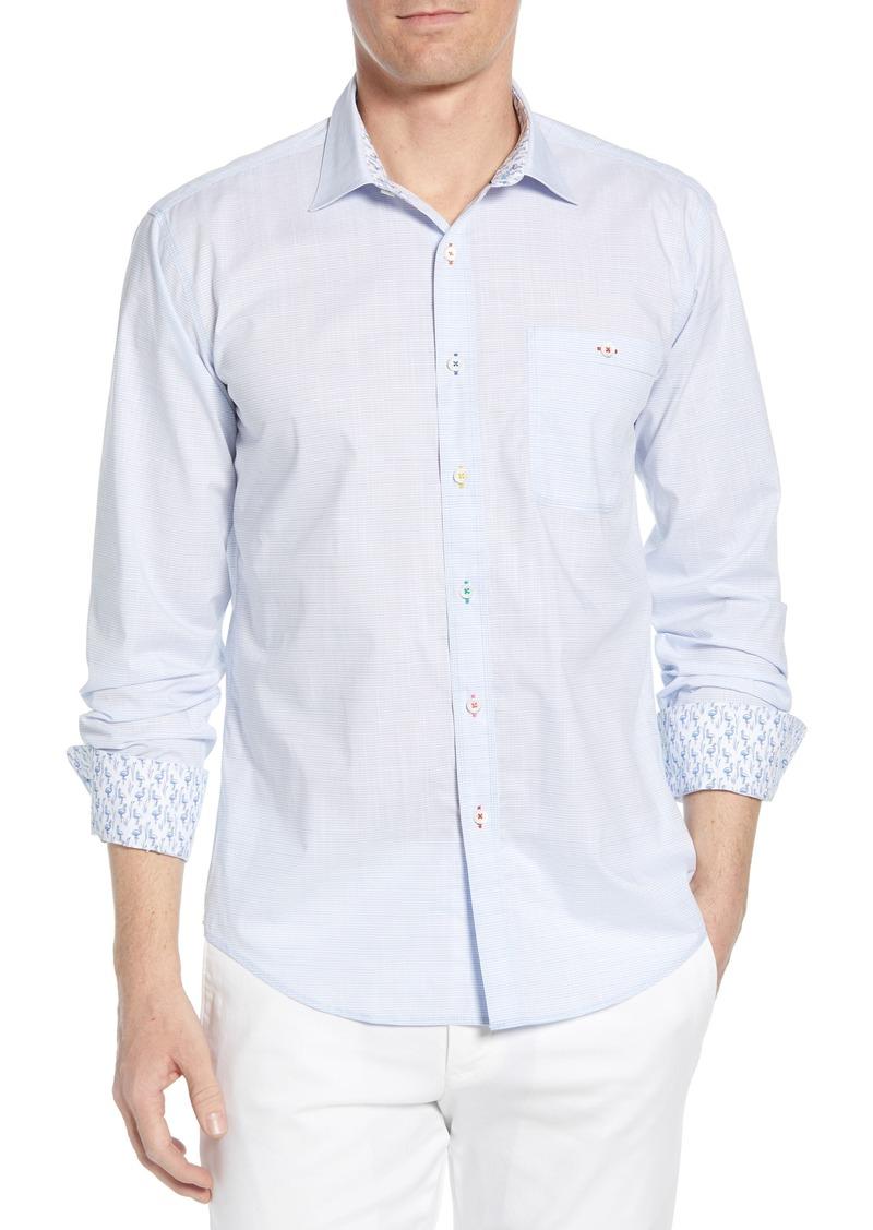 Bugatchi Shaped Fit Stripe Cotton Shirt