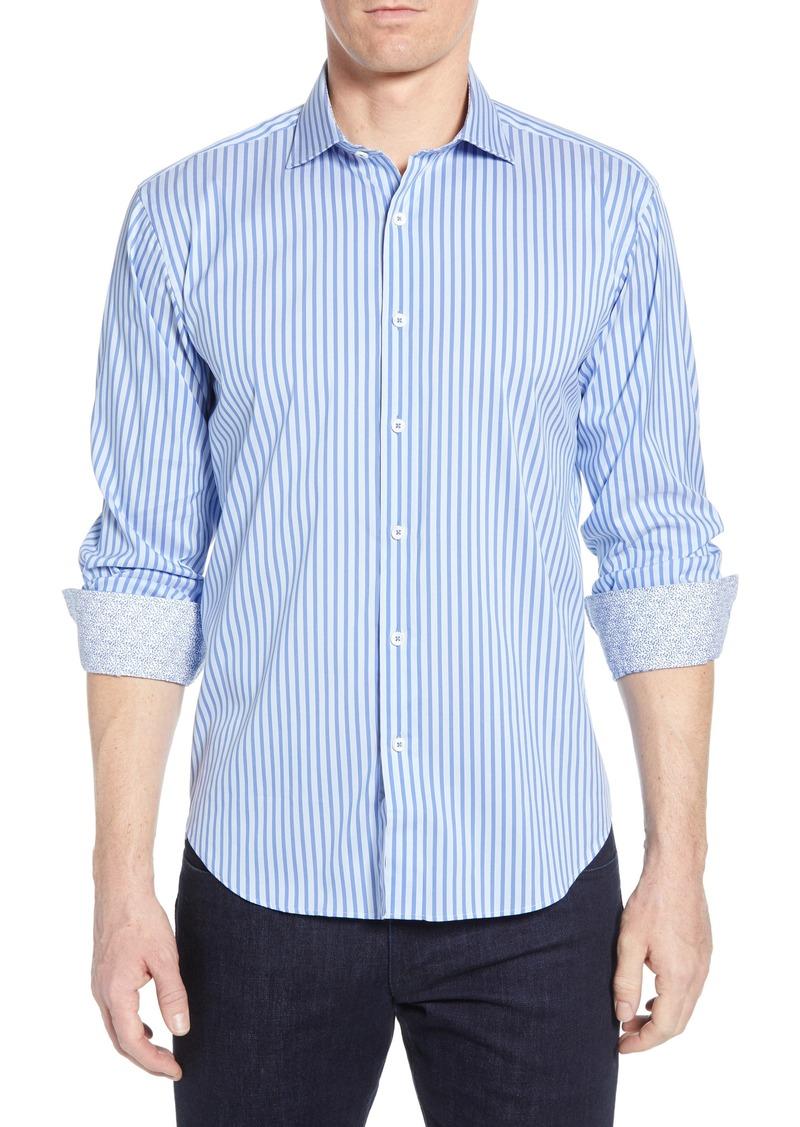 Bugatchi Shaped Fit Stripe Performance Shirt
