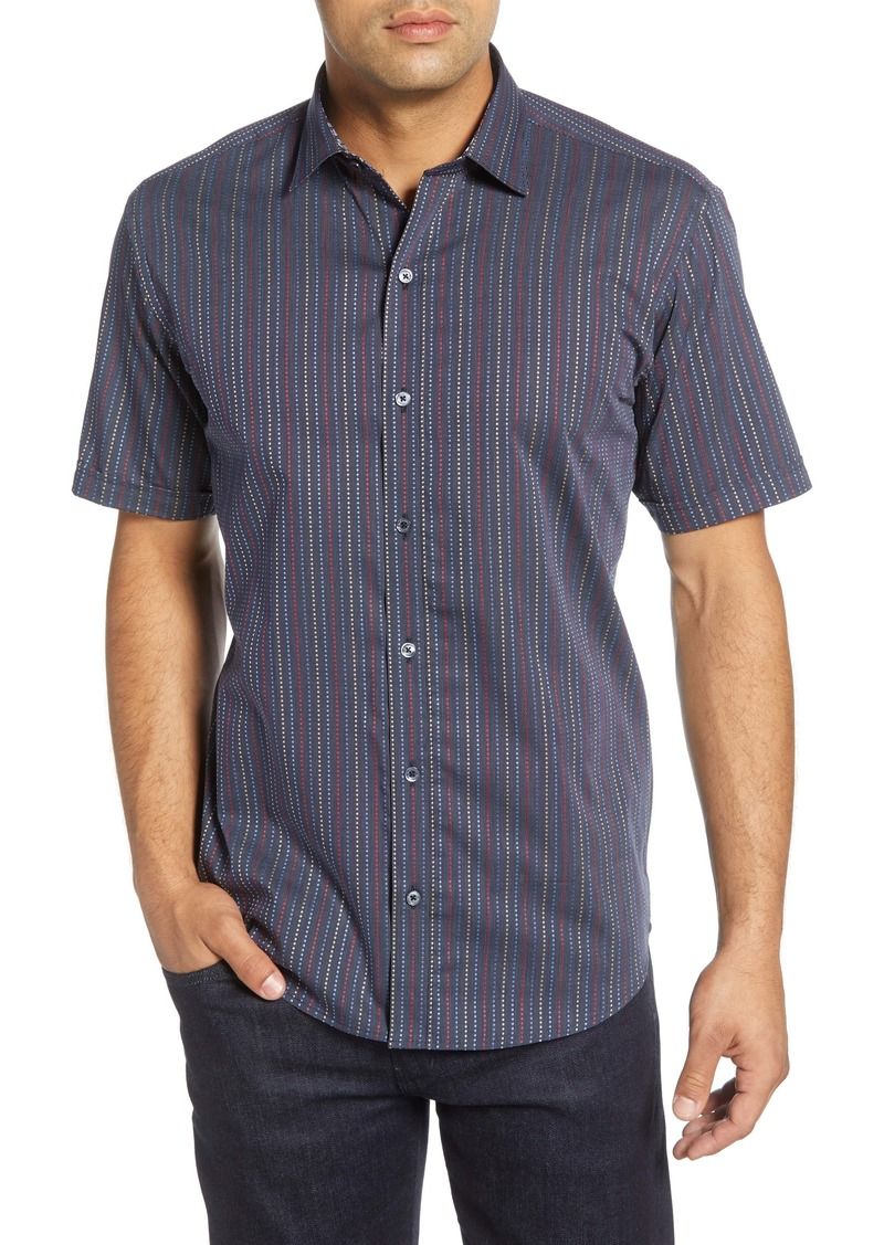 Bugatchi Shaped Fit Stripe Short Sleeve Button-Up Shirt