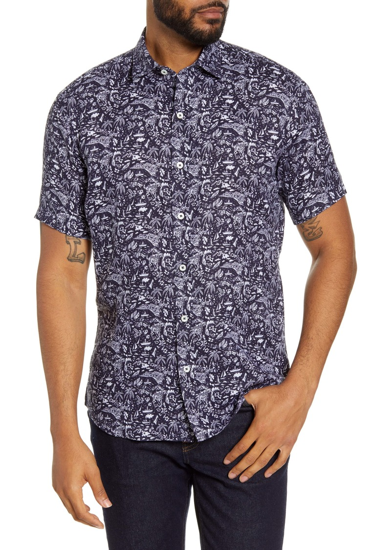 Bugatchi Shaped Fit Tropical Short Sleeve Linen Button-Up Shirt