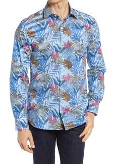 Bugatchi Shaped Fit Tropical Stripe Stretch Button-Up Shirt