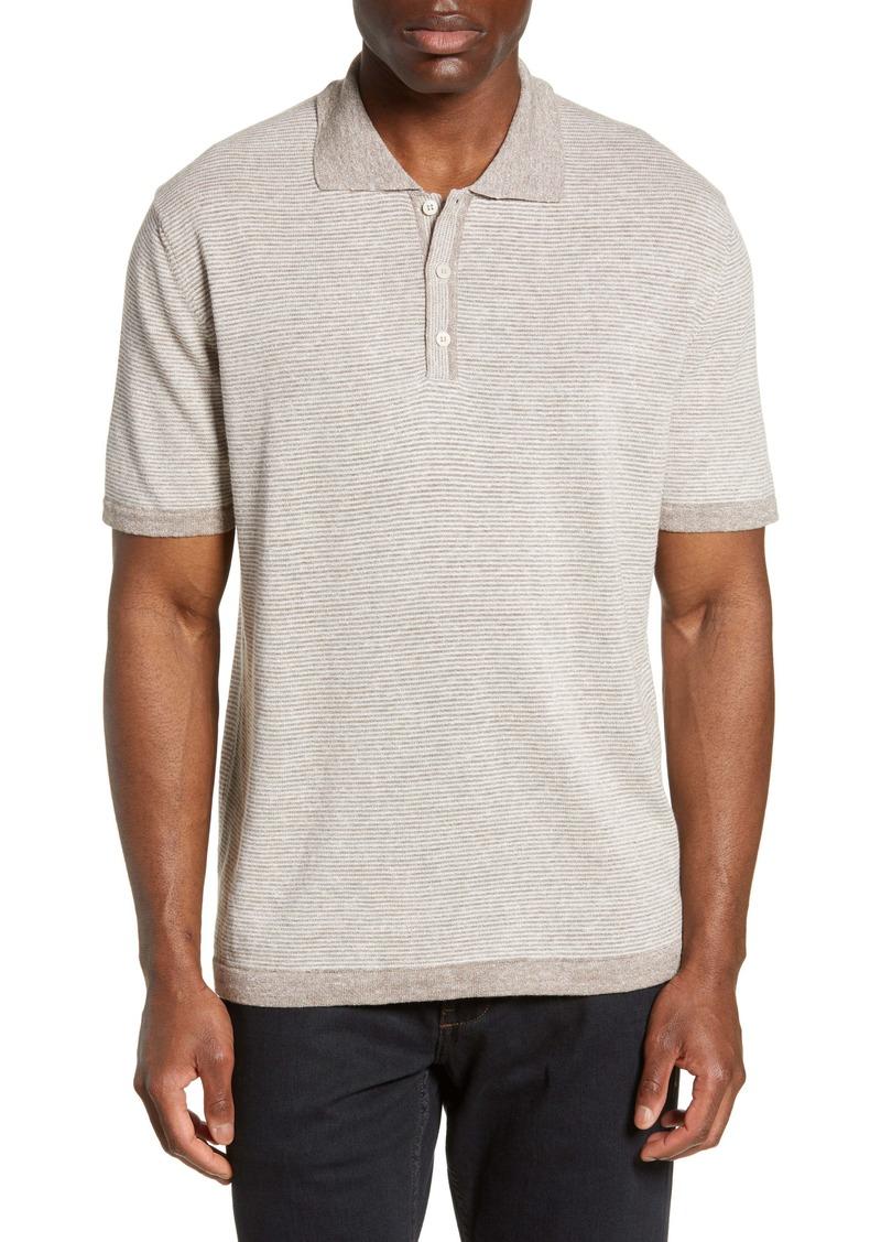 Bugatchi Stripe Cotton & Linen Polo Sweater
