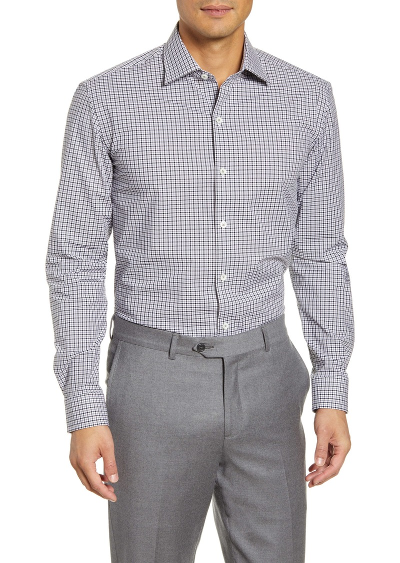Bugatchi Trim Fit Stretch Check Dress Shirt