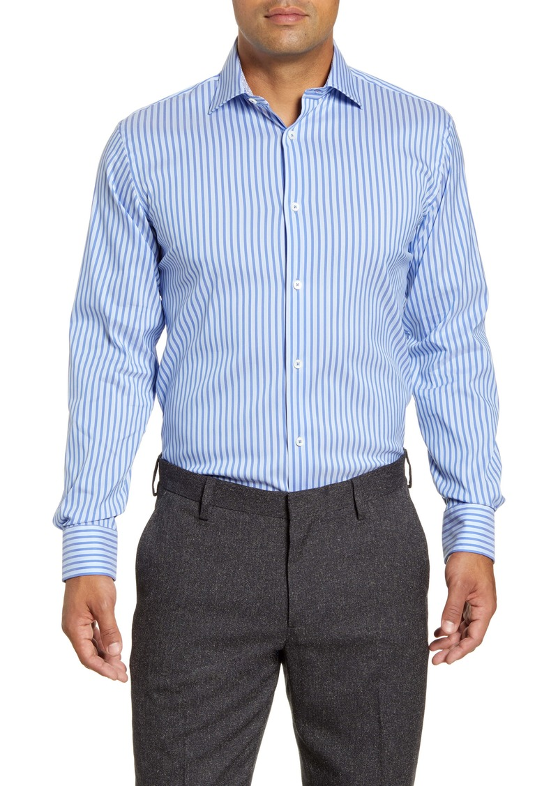 Bugatchi Trim Fit Stripe Dress Shirt