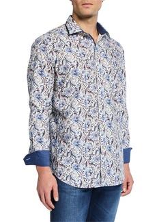 Bugatchi Men's Botanical-Print Shaped-Fit Sports Shirt