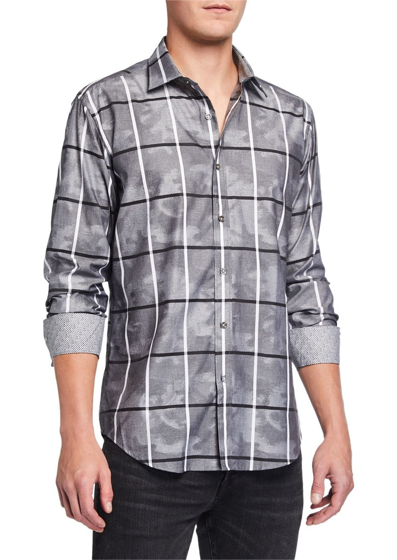 Bugatchi Men's Camo Windowpane Long-Sleeve Sport Shirt