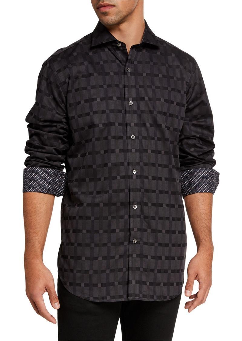 Bugatchi Men's Classic-Fit Grid-Print Sport Shirt