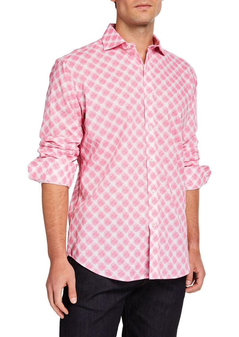 Bugatchi Men's Classic-Fit Printed Long-Sleeve Sport Shirt