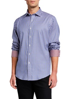 Bugatchi Men's Gingham Check Contrast-Reverse Sport Shirt