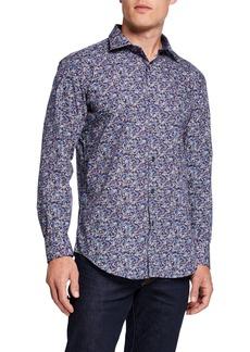 Bugatchi Men's Long-Sleeve Printed Sports Shirt