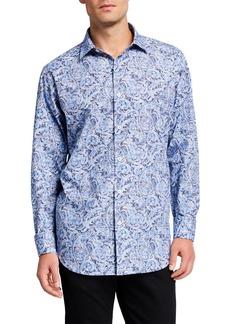Bugatchi Men's Paisley Cotton Sport Shirt