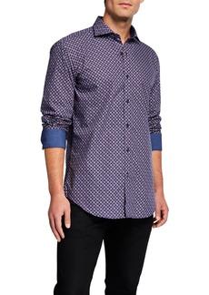 Bugatchi Men's Patterned Contrast-Reverse Sport Shirt