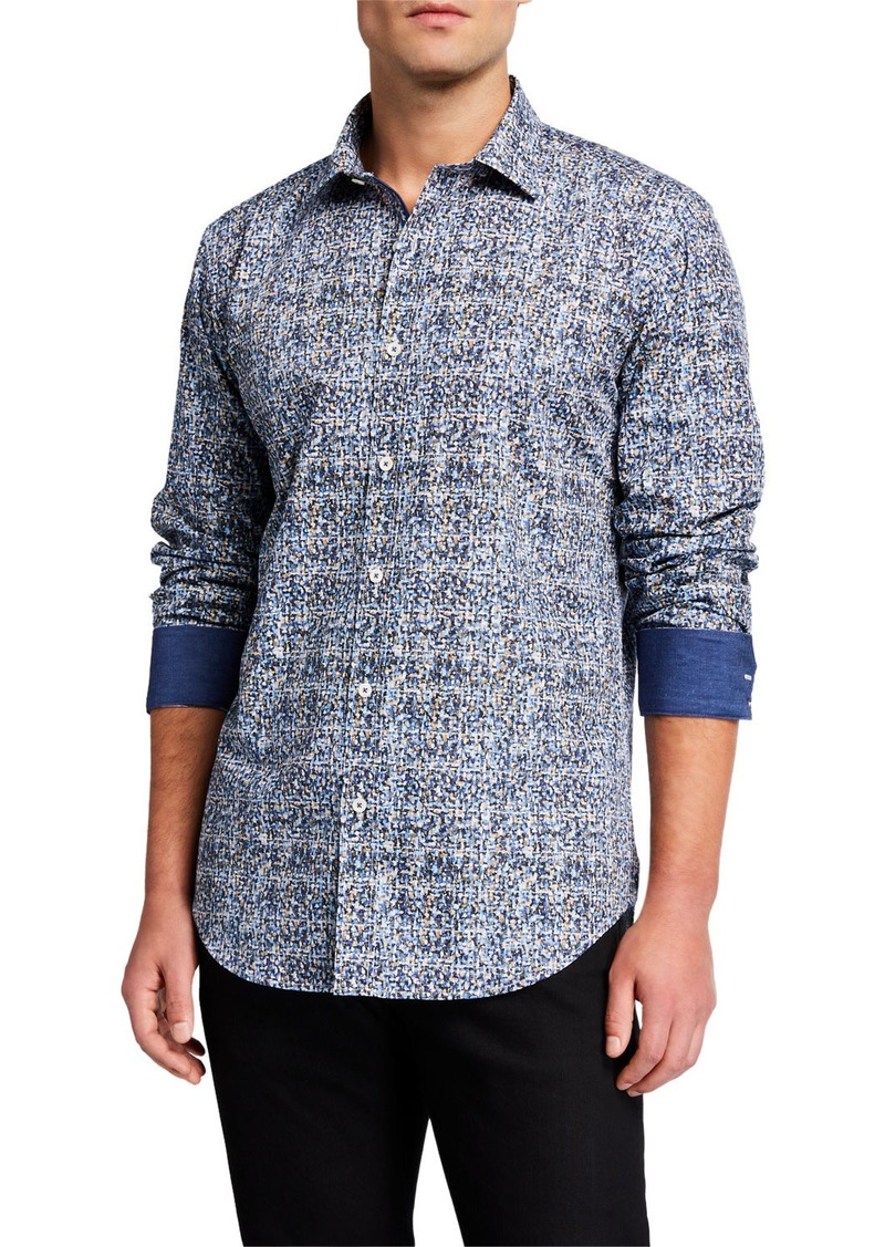 Bugatchi Men's Patterned Contrast-Reverse Sport Shirt