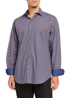 Bugatchi Men's Patterned Sport Shirt w/ Contrast Reverse Detail