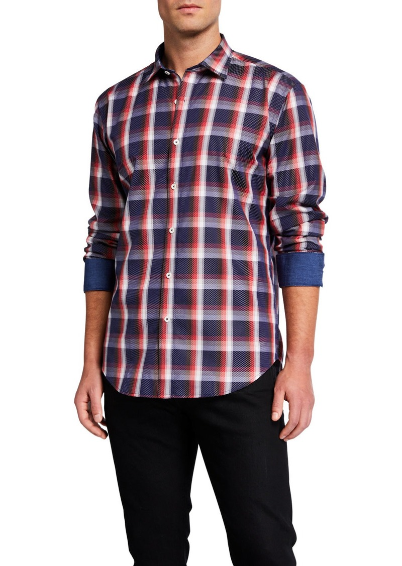 Bugatchi Men's Plaid Contrast-Reverse Cotton Sport Shirt