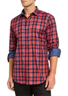 Bugatchi Men's Plaid Sport Shirt w/ Contrast Reverse Detail