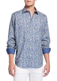 Bugatchi Men's Printed Long-Sleeve Sport Shirt