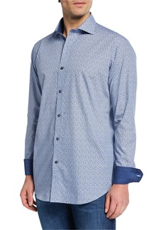 Bugatchi Men's Printed Shaped-Fit Sports Shirt