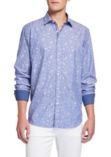 Bugatchi Men's Printed Striped Sport Shirt