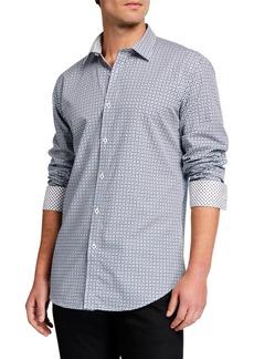 Bugatchi Men's Shaped-Fit Dotted Sport Shirt