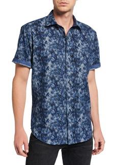 Bugatchi Men's Short-Sleeve Printed Sports Shirt