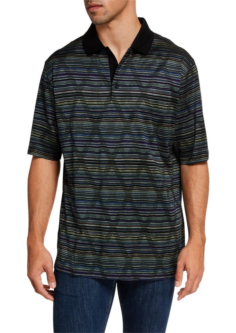 Bugatchi Men's Stripe & Diamond Pattern Polo Shirt