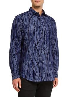 Bugatchi Men's Classic Fit Velvet-Textured Sport Shirt
