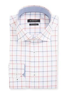 Bugatchi Men's Windowpane Check Dress Shirt w/ Contrast Reverse