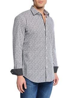 Bugatchi Men's Woven Printed Sport Shirt