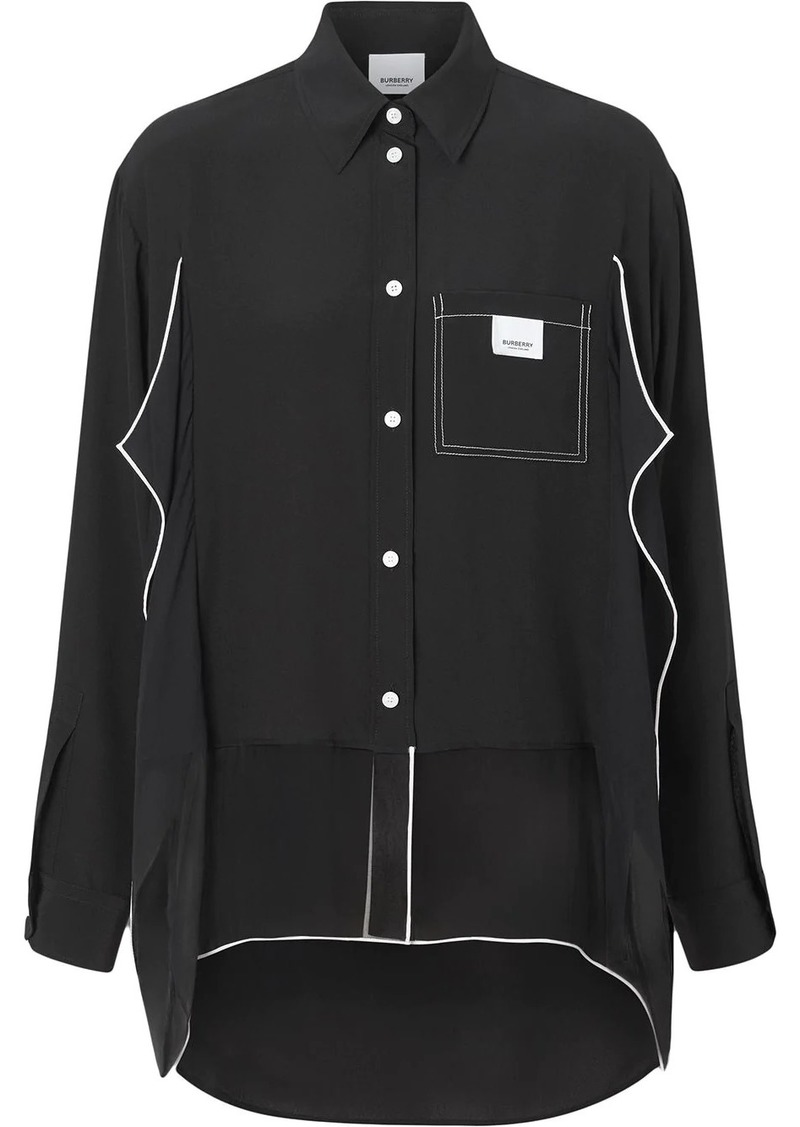 Burberry Piping Detail Crepe De Chine Oversized Shirt