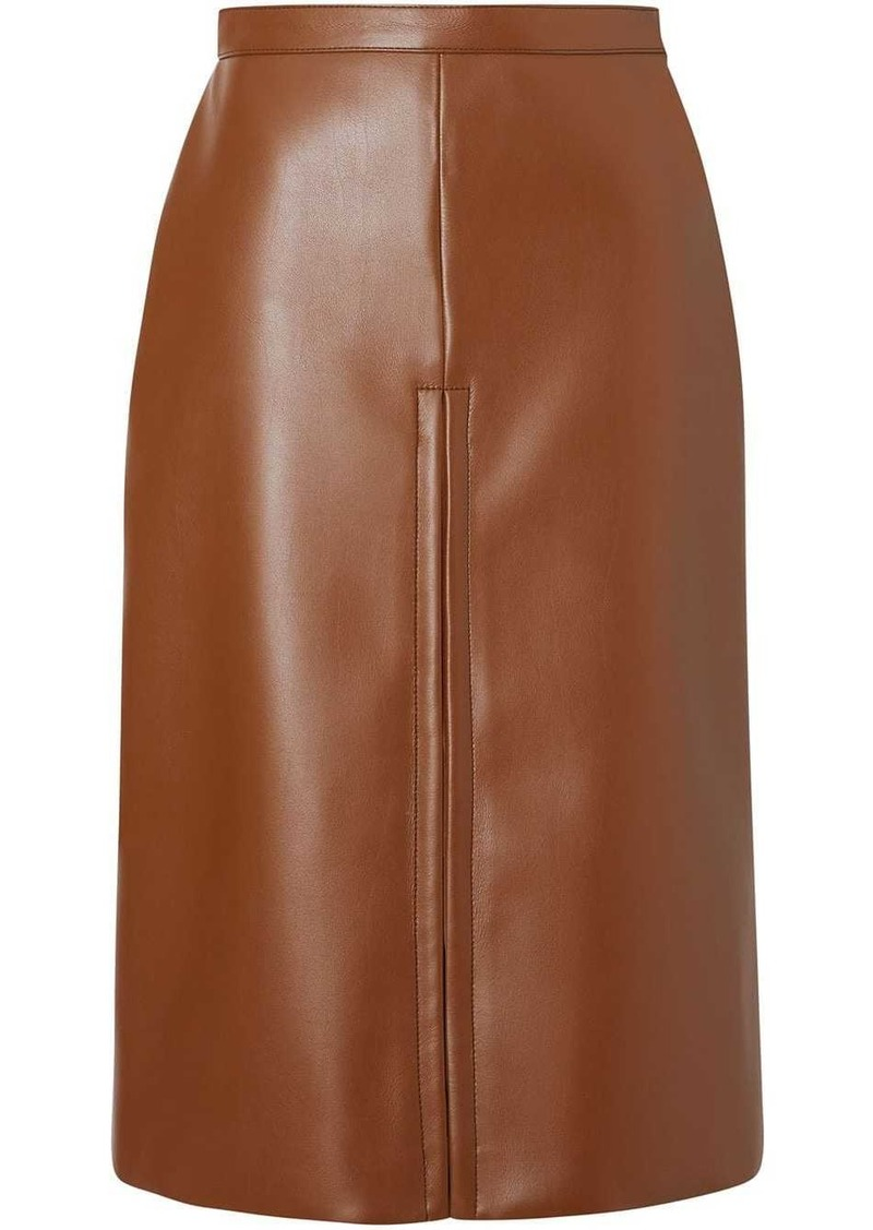 Burberry Box Pleat Detail Faux Leather Skirt