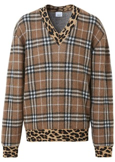 Burberry leopard detail vintage check jumper