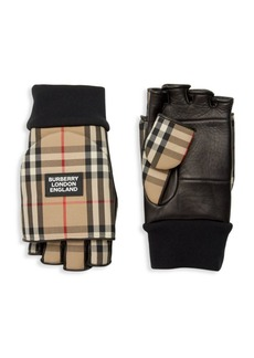 Burberry 3 In 1 Archive Check Leather Gloves