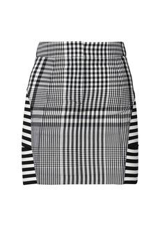 Burberry Abstract Gingham Wool Blend Mini Skirt